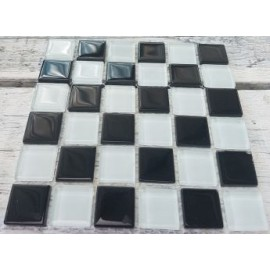 Crystal Glass Black and White Mix 23mm Mosaic Tiles