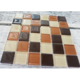 Crystal Glass Brown Mix 23mm Mosaic Tiles