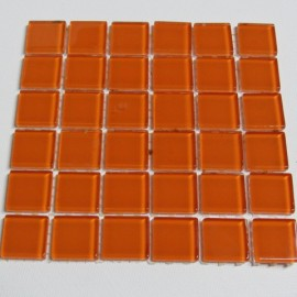 Crystal Glass Burn Orange 23mm Mosaic Tiles