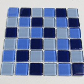 Crystal Glass Aqua Mix 23mm Mosaic Tiles