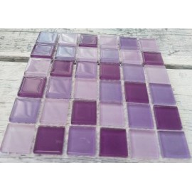 Crystal Glass Purple Mix 23mm Mosaic Tiles