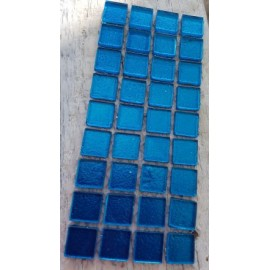 Gold Leaf Glass Blue 15mm Mosaic Tiles