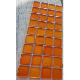 Gold Leaf Glass Orange 15mm Mosaic Tiles