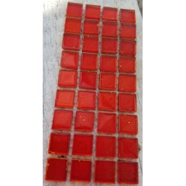 Gold Leaf Glass Red 15mm Mosaic Tiles
