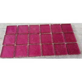 Glitter Glass Dark Pink 23mm Mosaic Tiles