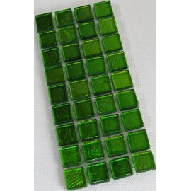 Gold Leaf Glass Lime Green15mm Mosaic Tiles