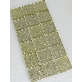 Glitter Glass Ivory 23mm Mosaic Tiles