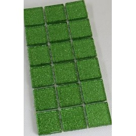 Glitter Glass Lime Green 23mm Mosaic Tiles