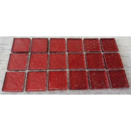 Glitter Glass Dark Red 23mm Mosaic Tiles